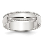 6mm Half Round Milgrain Band - Sterling Silver QWM060
