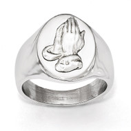 Polished with Sterling Silver Praying Hands Ring - Stainless Steel SR472