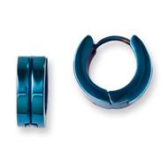 Blue IP-plated Hinged Hoop Earrings - Stainless Steel SRE673