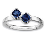 Cushion Cut Sapphire Ring - Sterling Silver QSK418