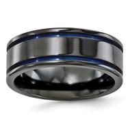 Edward Mirell Black Titanium Grooved Blue Anodized 8mm Band EMR108
