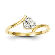 Synthetic Diamond Heart Ring 10K Gold & Rhodium 10C1212