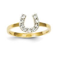 Horse Shoe Ring 10k Gold Synthetic Diamond 10C1249