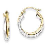 Yellow & Twist Hoop Earring 10k White Gold 10TC366