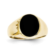 Onyx Mens Ring 10k Gold 10X21