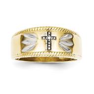 0.01ct. Diamond Trio Men's Cross Wedding Band 10k Gold 10X74