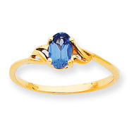 Polished Geniune Blue Topaz Birthstone Ring 10k Gold 10XBR141
