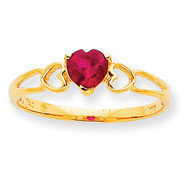 Polished Geniune Ruby Birthstone Ring 10k Gold 10XBR160