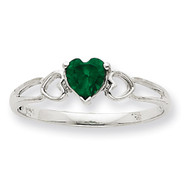 Polished Geniune Emerald Birthstone Ring 10k White Gold 10XBR170