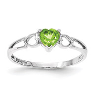 Polished Geniune Peridot Birthstone Ring 10k White Gold 10XBR173