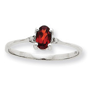 Polished Geniune Diamond & Garnet Birthstone Ring 10k White Gold 10XBR214