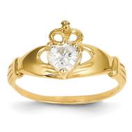 April Birthstone Claddagh Heart Ring 14k Gold Synthetic Diamond D1795