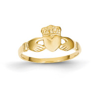 Ladies Claddagh Ring 14k Gold Polished D1875