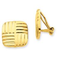 Non-pierced Basket weave Earrings 14k Gold H638