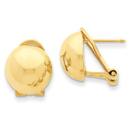Omega Clip 12mm Half Ball Earrings 14k Gold H921