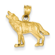 Wolf Pendant 14k Gold Diamond-cut K3331