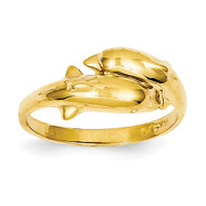 Double Dolphin Ring 14k Gold K3922