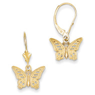 Butterfly Leverback Earrings 14k Gold K4419
