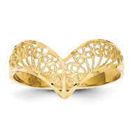 Filigree Ring 14k Gold Diamond-cut R163