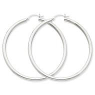 3mm Round Hoop Earrings 14k White Gold T855