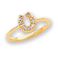 0.10ct. Diamond Horseshoe Ring Mounting 14k Gold Polished X5238
