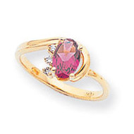 0.03ct. Diamond & 7x5 Oval Gemstone Ring Mounting 14k Gold Polished X6088