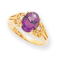 0.04ct. Diamond & 9x7 Oval Gemstone Filigree Ring Mounting 14k Gold Polished X6106