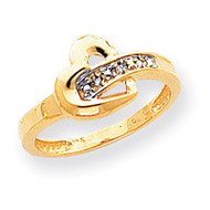 0.01ct. Diamond Heart Ring Mounting 14k Gold Polished X9538