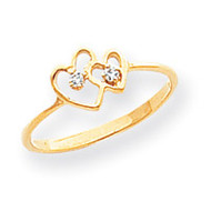 0.03ct. Diamond Heart Ring Mounting 14k Gold Polished X9552