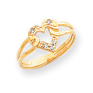 0.05ct. Diamond Heart Ring Mounting 14k Gold Polished X9557