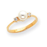 0.08ct. Diamond & Cultured Pearl Ring Mounting 14k Gold Polished X9754