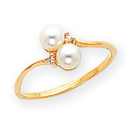0.02ct. Diamond & Cultured Pearl Ring Mounting 14k Gold Polished X9758
