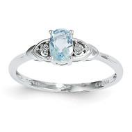 Aquamarine Diamond Ring 14k White Gold Genuine XBS230