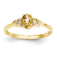 Diamond & Citrine Ring 14k Gold XBS284