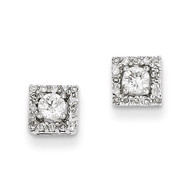 0.13ct Diamond Square Post Earrings 14k White Gold XE2293AA