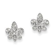 0.16ct Diamond Fleur de Lis Post Earrings 14k White Gold XE2302AA