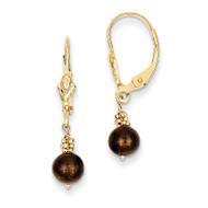 (5-6mm) Coffee Brown Cultured Pearl Leverback Earrings 14k Gold XF210