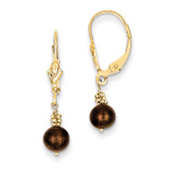 (5-6mm) Coffee Brown Cultured Pearl Leverback Earrings 14k Gold XF210
