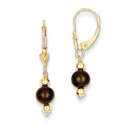 (5-6mm) Coffee Brown Cultured PEarringsl & Bead Leverback Earrings 14k Gold XF211