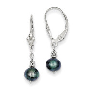 (5-6mm) Semi-round Grey Cultured PEarringsl Leverback Earrings 14k White Gold XF214
