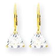 6mm Trillion Cubic Zirconia Leverback Earrings 14k Gold XLB118CZ