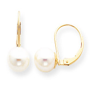 8-8.5mm Cultured Pearl Leverback Earring Mounting 14k Gold XLB85