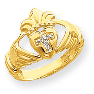 0.03ct. Diamond Claddagh Ring Mounting 14k Gold Polished XP743