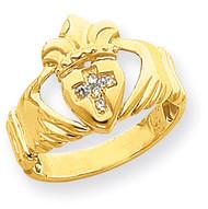 0.06ct. Diamond Mens Claddagh Ring Mounting 14k Gold Polished XP744