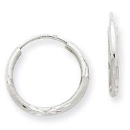 1.5mm Diamond-cut Endless Hoop Earrings 14k White Gold XY1198