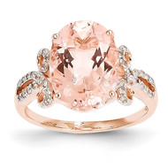 Diamond and Morganite Oval Ring 14k Rose Gold Y10682MG/AA