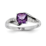 Diamond and Amethyst Square Ring 14k White Gold Y11410AM/AA