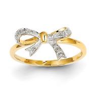 Diamond Bow Ring 14k Gold Rhodium Y11674AA