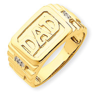 Etched Band Polished Diamond DAD Ring Mounting 14k Gold Y1605