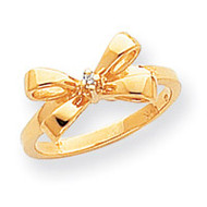 0.02ct. Diamond Bow Ring Mounting 14k Gold Polished Y1708